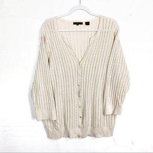 Jeanne Pierre Cotton Cable Knit Cream Cardigan